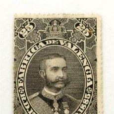 Sellos: FÁBRICA DE VALENCIA. 25 CIGARRILLOS. R.D. 17 FEBRERO 1885. Lote 290956823
