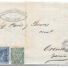 Sellos: RARO FECHADOR DE ORENSE DEL TIPO 1874 AL DORSO ENVUELTA CIRCULADA DE SEGORBE A ORENSE 1876. Lote 292362318