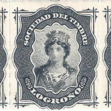 Sellos: FISCAL. SOCIEDAD DEL TIMBRE LOGROÑO. AÑO 1876 (TIRA DE 3). LUJO. MNH **. Lote 294022518