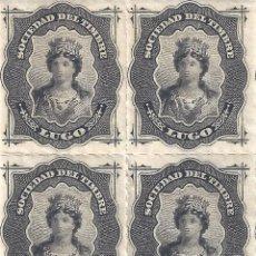 Sellos: FISCAL. SOCIEDAD DEL TIMBRE LUGO. AÑO 1876 (BLOQUE DE 4). LUJO. MNH **. Lote 294022893