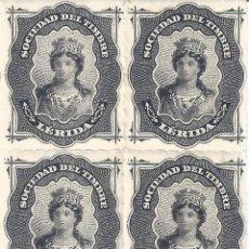 Sellos: FISCAL. SOCIEDAD DEL TIMBRE LÉRIDA. AÑO 1876 (BLOQUE DE 4). LUJO. MNH **. Lote 294023023