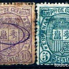 Sellos: GIROEXLIBRIS.- ESPAÑA.- 1875.- ESCUDO DE ESPAÑA EDIFIL Nº 154/55 IMPUESTOS DE GUERRA SELLOS USADOS. Lote 295430248