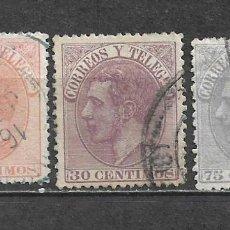 Sellos: ESPAÑA 1882 EDIFIL 210/212 USADO - 5/14. Lote 297055553