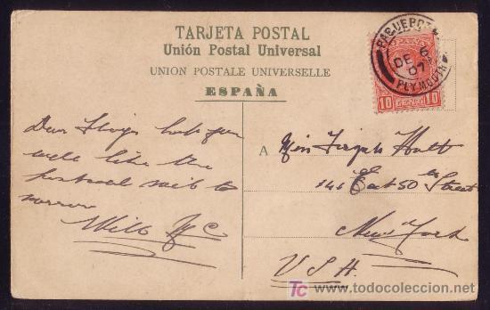 ESPAÑA.(CAT.243).1907.T.P.DE LAS PALMAS (CANARIAS) A NUEVA YORK.MAT. * PAQUEBOT/PLYMOUTH *.MUY RARA. (Sellos - España - Alfonso XIII de 1.886 a 1.931 - Cartas)
