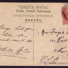 Sellos: ESPAÑA.(CAT.243).1907.T.P.DE LAS PALMAS (CANARIAS) A NUEVA YORK.MAT. * PAQUEBOT/PLYMOUTH *.MUY RARA.. Lote 26562791