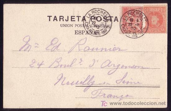 ESPAÑA.(CAT.243+SELLO FRANCÉS 124).1902.T.P.DE LA CORUÑA A FRANCIA.FRANQUEO MIXTO ESPAÑOL-FRANCÉS. (Sellos - España - Alfonso XIII de 1.886 a 1.931 - Cartas)