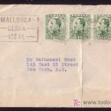 Sellos: ESPAÑA.(CAT.492,YVERT 229).1931.SOBRE DE PALMA DE MALLORCA A EE.UU.FRANQUEO MIXTO ESPAÑOL-AMERICANO.. Lote 27165808