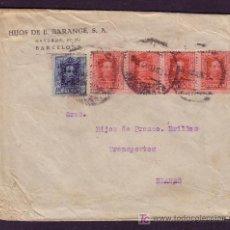 Sellos: ESPAÑA.(CAT.317A(4),319).1927.SOBRE DE BARCELONA A BLANES.MUY RARO FRANQUEO DE 1,40 PTAS.MUY BONITO.. Lote 26813927