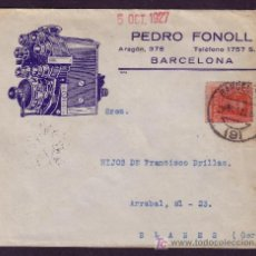 Sellos: ESPAÑA.(CAT.317A).1927.SOBRE DE PUBLICIDAD AUTOMÓVILES *MOTOR* DE BARCELONA. 25 CTS.MAGNÍFICA.RR.. Lote 27441348