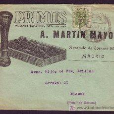 Sellos: ESPAÑA.(CAT. 310A).1927.SOBRE DE PUBLICIDAD *PRIMUS* DE MADRID.FRANQUEO IMPRESOS.MAGNÍFICO.RARÍSIMO.. Lote 24840101