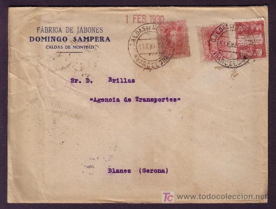 ESPAÑA.(CAT.317A(2),AYTO. 2).1930.SOBRE DE CALDAS DE MONTBUY (BARCELONA).RARO FRANQUEO.MAT. FECHADOR (Sellos - España - Alfonso XIII de 1.886 a 1.931 - Cartas)