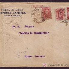 Sellos: ESPAÑA.(CAT.317A(2),AYTO. 2).1930.SOBRE DE CALDAS DE MONTBUY (BARCELONA).RARO FRANQUEO.MAT. FECHADOR. Lote 23998219