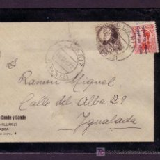Sellos: ESPAÑA.(CAT.598,663).1932. SOBRE LUTO DE ALLARIZ (ORENSE). DOS SELLOS MAT. *ALLARIZ/ORENSE*. BONITA.. Lote 26719955