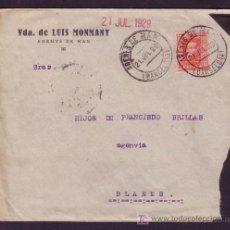 Sellos: ESPAÑA. (CAT. 317). 1929. SOBRE DE ARENYS DE MAR (BARCELONA). 25 CTS. MAT. FECHADOR. MUY BONITA.. Lote 25405811