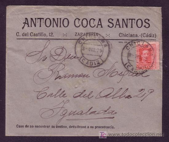 ESPAÑA. (CAT. 317A).1929. SOBRE DE CHICLANA A IGUALADA. 25 CTS. MAT. * CHICLANA/CÁDIZ *. MUY BONITA. (Sellos - España - Alfonso XIII de 1.886 a 1.931 - Cartas)