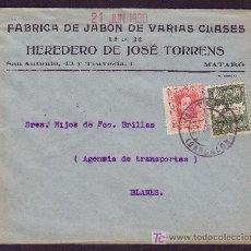 Sellos: ESPAÑA.(CAT.317A,AYTO.4).1930.SOBRE DE MATARÓ (BARCELONA).SELLO AYTO.USADO EN MATARÓ.MAGNÍFICA. RARA. Lote 26952506