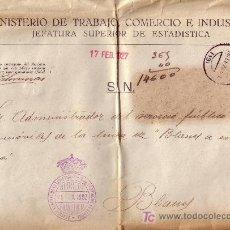 Sellos: ESPAÑA.FRANQUICIAS.1927.SOBRE DE GERONA A BLANES.MARCA *SERVICIO GENERAL DE ESTADÍSTICA...*.M.BONITA. Lote 25786535