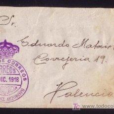 Sellos: ESPAÑA.1918.SOBRE DE VILLAR DEL ARZOBISPO (VALENCIA) A VALENCIA.MARCA DE FRANQUICIA.MAGNÍFICA Y RARA. Lote 25879111