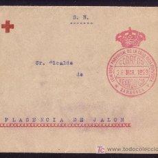 Sellos: ESPAÑA.1920.SOBRE DE LA CRUZ ROJA DE ZARAGOZA A PLASENCIA.MARCA DE FRANQUICIA EN ROJO.RARÍSIMA.. Lote 26581584