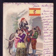 Sellos: ESPAÑA. TARJETA POSTAL DEL TEMA CORREO CIRCULADA EN EL AÑO 1901. MAGNÍFICA Y MUY RARA.. Lote 26169911