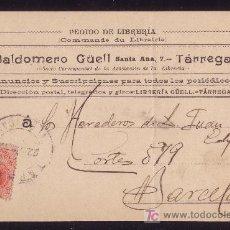 Sellos: ESPAÑA. (CAT. 269). 1912. T. P. PUBLICIDAD DE TÁRREGA (LÉRIDA). 10 CTS. MEDALLÓN. MUY BONITA.. Lote 23396010
