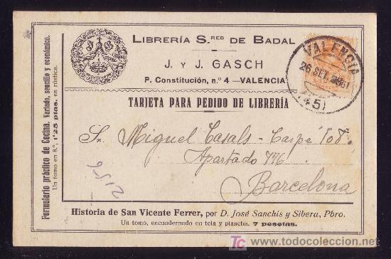 ESPAÑA.(CAT. 271).1923.T.P. PUBLICIDAD LIBRERÍA SRES. DE BADAL DE VALENCIA.15 C. MEDALLÓN.MAGNÍFICA. (Sellos - España - Alfonso XIII de 1.886 a 1.931 - Cartas)