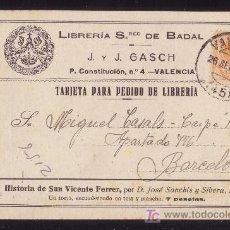 Sellos: ESPAÑA.(CAT. 271).1923.T.P. PUBLICIDAD LIBRERÍA SRES. DE BADAL DE VALENCIA.15 C. MEDALLÓN.MAGNÍFICA.. Lote 22948805