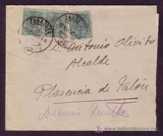 ESPAÑA.(CAT. 268).1920.SOBRE DE ZARAGOZA A PLASENCIA.TRES SELLOS 5 C.MEDALLÓN.MAT.ZARAGOZA.MAGNÍFICA (Sellos - España - Alfonso XIII de 1.886 a 1.931 - Cartas)