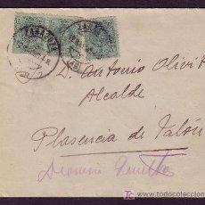 Sellos: ESPAÑA.(CAT. 268).1920.SOBRE DE ZARAGOZA A PLASENCIA.TRES SELLOS 5 C.MEDALLÓN.MAT.ZARAGOZA.MAGNÍFICA. Lote 23157888