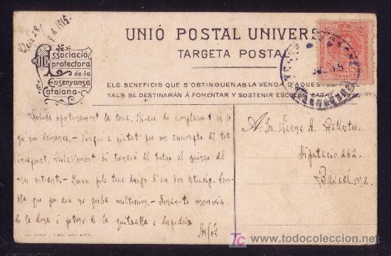 ESPAÑA.(CAT.269).1915.T.P.CATALANÍSTA*ASSOCIACIÓ PROTECTORA DE LA ENSENYANSA CATALANA* DE CLAVÁ.RARA (Sellos - España - Alfonso XIII de 1.886 a 1.931 - Cartas)