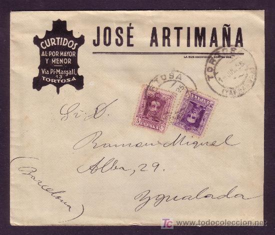 ESPAÑA. (CAT. 311, 316). 1925. SOBRE DE PUBLICIDAD DE TORTOSA. 5 Y 20 CTS. VAQUER. BONITO FRANQUEO. (Sellos - España - Alfonso XIII de 1.886 a 1.931 - Cartas)