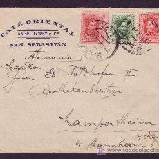 Sellos: ESPAÑA.(CAT. 312,314,317A). 1929. SOBRE PUBLICIDAD CAFÉ ORIENTAL. BILBAO. BONITO FRANQUEO. MAGNÍFICO. Lote 24891543