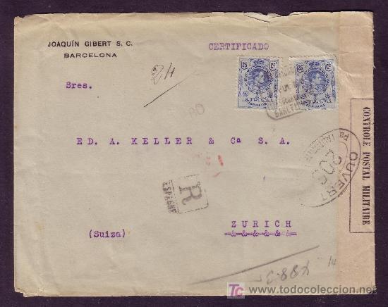 ESPAÑA. (CAT. 274).1917. SOBRE CERTIFICADO DE BARCELONA A SUIZA. 25 C. MEDALLÓN. MUY RARA.MAGNÍFICA. (Sellos - España - Alfonso XIII de 1.886 a 1.931 - Cartas)