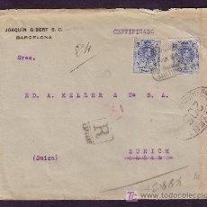 Sellos: ESPAÑA. (CAT. 274).1917. SOBRE CERTIFICADO DE BARCELONA A SUIZA. 25 C. MEDALLÓN. MUY RARA.MAGNÍFICA.. Lote 26213539