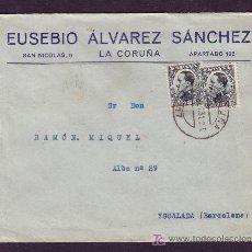 Sellos: ESPAÑA.(CAT.493(2)).1931(10 SET).SOBRE DE LA CORUÑA A IGUALADA.BONITO FRANQUEO VAQUER PERFIL.MAGFCA.. Lote 27573257