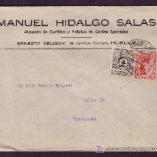 Sellos: ESPAÑA(CAT.495,592).1931 (16 JUL).SOBRE DE HUELVA A IGUALADA.VAQUER Y DCHO. ENTREGA.MAT. HUELVA.. Lote 26170073
