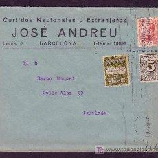 Sellos: ESPAÑA. (CAT. 592, 598, AYTO. 4).1930. SOBRE DE BARCELONA A IGUALADA. MUY BONITO FRANQUEO.. Lote 24196678