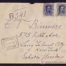 Sellos: ESPAÑA.(CAT.315,319).1926.SOBRE CERTIFICADO DE BARCELONA A NUEVA YORK. 15 Y 40 C. VAQUER. 4 LLEGADAS. Lote 21851406