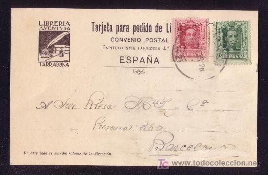 ESPAÑA. (CAT. 312, 314). 1928. T. P. PUBLICIDAD DE TARRAGONA A BARCELONA. 5 Y 10 C. VAQUER. BONITA. (Sellos - España - Alfonso XIII de 1.886 a 1.931 - Cartas)