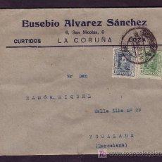 Sellos: ESPAÑA. (CAT. 314, 315B). 1930. SOBRE DE LA CORUÑA A IGUALADA. 10 Y 15 C. VAQUER. AL DORSO LLEGADA.. Lote 23813595