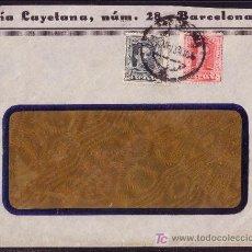 Sellos: ESPAÑA.(CAT.315B,317).1930.SOBRE CON VENTANA DE BARCELONA.15 Y 25 C. VAQUER.RARO SOBRE CON VENTANA.. Lote 23867269