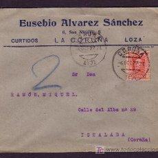 Sellos: ESPAÑA.(CAT. 317A). 1927. SOBRE DE LA CORUÑA A IGUALADA. 25 C. VAQUER. MAT. CORUÑA/(17). MAGNÍFICA.. Lote 26270606