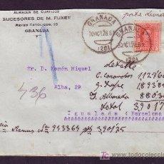 Sellos: ESPAÑA.(CAT.317A).1928.SOBRE DE GRANADA A IGUALADA.25C.VAQUER.MAT.GRANADA.MANUSCRITO *PORTE DEVIDO*.. Lote 25736927
