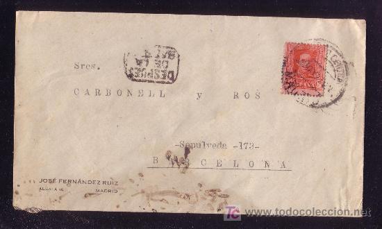 ESPAÑA.(CAT.317A).1927.SOBRE DE MADRID A BARCELONA.25 C. VAQUER.AL LADO MARCA *DESPUES/DE LA/SALIDA* (Sellos - España - Alfonso XIII de 1.886 a 1.931 - Cartas)