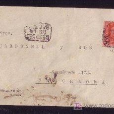 Sellos: ESPAÑA.(CAT.317A).1927.SOBRE DE MADRID A BARCELONA.25 C. VAQUER.AL LADO MARCA *DESPUES/DE LA/SALIDA*. Lote 27597565