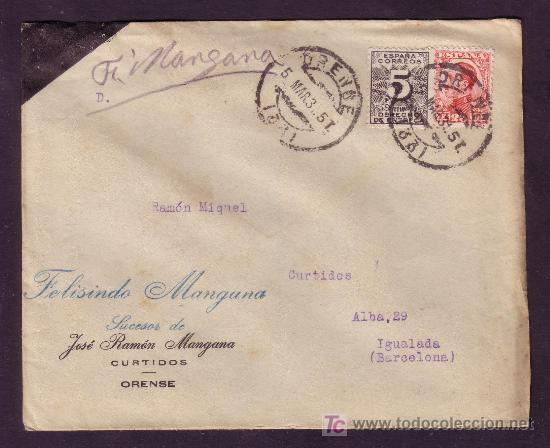 ESPAÑA.(CAT.495,592).1931.SOBRE DE ORENSE A IGUALADA.25 C. VAQUER Y 5 C. DCHO. ENTREGA. MAT.ORENSE. (Sellos - España - Alfonso XIII de 1.886 a 1.931 - Cartas)