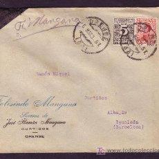 Sellos: ESPAÑA.(CAT.495,592).1931.SOBRE DE ORENSE A IGUALADA.25 C. VAQUER Y 5 C. DCHO. ENTREGA. MAT.ORENSE.. Lote 25382044