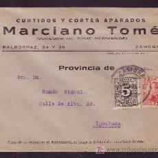 Sellos: ESPAÑA.(CAT.495,592).1931.SOBRE DE ZAMORA A IGUALADA.25C.VAQUER Y 5C.DCHO.ENTREGA.MAT.ZAMORA.MUY BTO. Lote 25405626