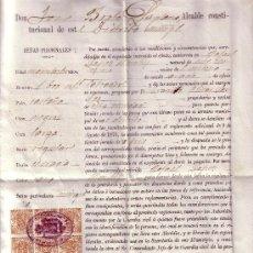 Sellos: ESPAÑA. FISCAL. (CAT. 26). 1908. DOCUMENTO EXPEDIDO EN, SIESTE (HUESCA). REINTEGRADO CON 10 SELLOS.. Lote 26016226