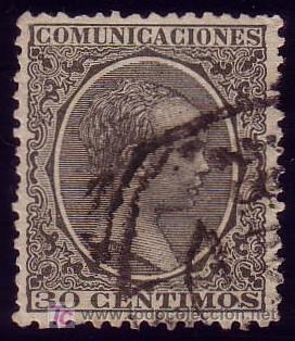 ESPAÑA. (CAT. 222). 30 CTS. PELÓN. EXCELENTE CENTRAJE. PIEZA DE LUJO. (Sellos - España - Alfonso XIII de 1.886 a 1.931 - Usados)